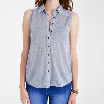 Striped Button-Down Sleeveless Shirt | Wet Seal