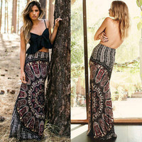 Sexy Womens Summer  Long Maxi Evening Party Skirt   Beach Waist Skirt Sundress