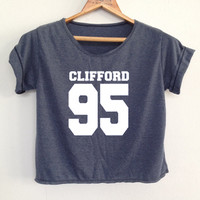 "CROP Michael clifford shirt 5sos shirt 5 second of summer tunic Women""s clothing Size S"