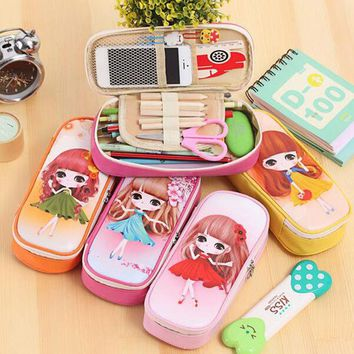 DCCKL72 kawaii Lovely Girls School Pencil Case Large Capacity PU Leathe Pencil Bag Cases For kids Students Pen Sack Stationery Supplies