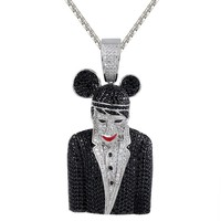 Men's Black Custom Iced Out Character Rapper Pendant Chain