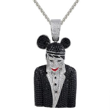 Men's Black Marilyn Manson Iced Out Character Rapper Pendant