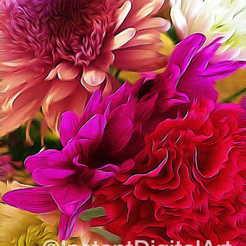 Bouquet of Flowers Abstract Art Printable Picture Downloadable Wall Art Home Decor Photo