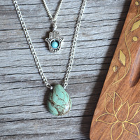 Hamsa Necklace, Turquoise and Hamsa Necklace, Layered Necklace, Multi Chain Necklace