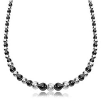 Polished graduated bead style necklace In Sterling Silver