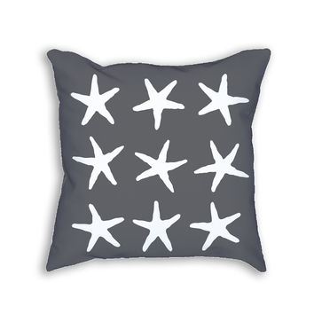 Gray Starfish Fish Decorative Throw Pillow