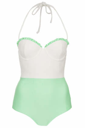 cf4e542251 Box Pleat Swimsuit - Mint from TOPSHOP