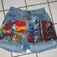 Custom Made to Order Avengers Marvel Comics Justice League superman Distressed High Waisted Hulk Thor Vintage Cut off Denim Shorts studded