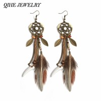 QIHE JEWELRY Brown Long Feather Dreamcatcher Earring Hippie Feather Mini Dream catcher Jewelry Boho Style