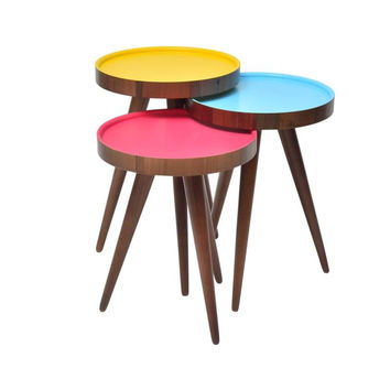 TV Tray, Coffee Table Round Walnut Wood inside Colors 3 pcs.