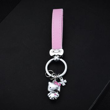 Pink Leather Rope PU Keychains Mini Metal Cat Hello Kitty Keyring Car Charm Key Ring Holder Couple Women Car Key Chains Pendant