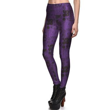 ONETOW New 3847 Sexy Girl Slim Ninth Pants Scrawl SpellBound witchcraft ouija Printed Stretch Fitness Women Leggings Plus Size