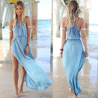 Summer Women Bandage V-Neck Beach Boho Maxi Sundress Long Dress VVF = 4904955012
