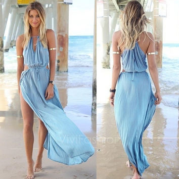 Summer Women Bandage V-Neck Beach Boho Maxi Sundress Long Dress VVF = 5657602881