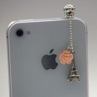 Kawaii MIni Eiffel Tower with Pink Rose Iphone Earphone Plug/Dust Plug