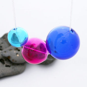 Aqua, Hot Pink & Cobalt Blue Hand Blown Glass Orbs - Aqua Glass Bubble Necklace - Hollow Glass Glob