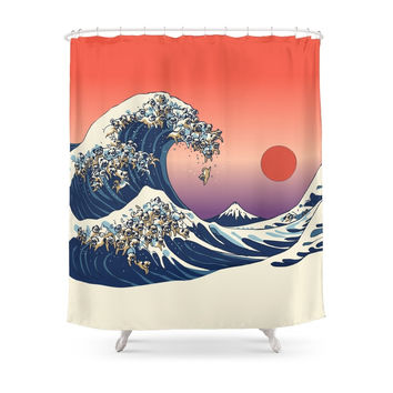 Society6 The Great Wave Of Pug Shower Curtains