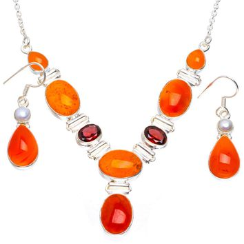 """Natural Carnelian,Garnet and River Pearl 925 Silver Jewelry Set Necklace 18.5"""" Earrings 1.5"""" A3359"""