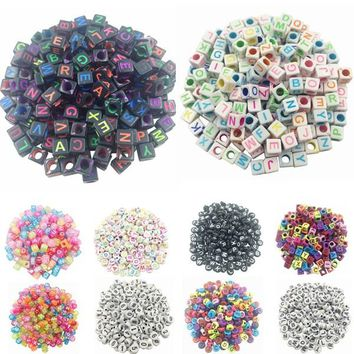 LNRRABC 100pcs DIY Square Round Acrylic alphabet Spacer Loose Beads For Necklace Bracelet Letter Beads Charms bisuteria Jewelry