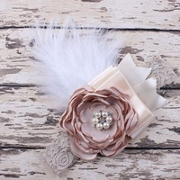 Sparking Rhinestone Feather Headband