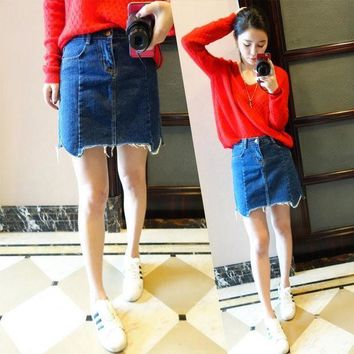 2016 Summer Tc Women Sexy Fashion Vintage Bleach Single Breasted Package Hip Side Split Button Pocket Denim Jeans Skirts