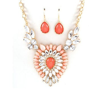 Coral Vintage Style Bridal Necklace Earrings, Wedding Jewelry Set, Statement Necklace, Bridesmaids Jewelry