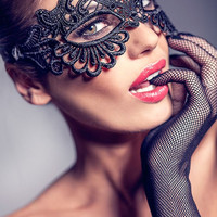 Halloween Mask Masquerade Mask Ball Mask Black Lace Mask Phantom of the Opera Mask SHIPPING from NYC!