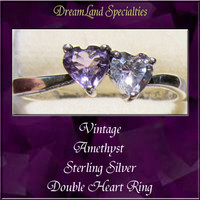 Amethyst Sterling Silver Vintage Jewelry Double Heart Ring size 10 PV