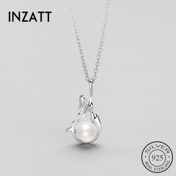 INZATT Romantic 925 Sterling Silver Freshwater Pearl Pendant Necklace for Women Mermaid  Fashion Jewelry Engagement Party Gift