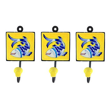 Pottery & Iron - Dancing Asian Fish Square Wall Hooks - Set of 3 - Iron Hangers (Yellow)