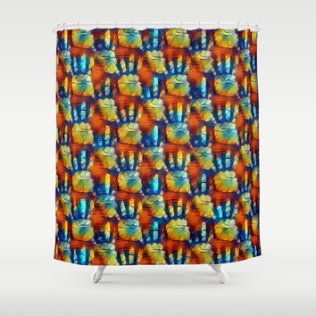 Colorful hands pattern, red, yellow, blue palms theme, palm prints design Shower Curtain by Casemiro Arts - Peter Reiss