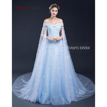 Bridal Off Shoulder Evening Dresses with Capes Beads Flowers Tulle Formal Evening Gown