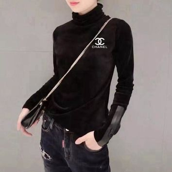 """Chanel"" Women Casual Fashion Small Logo Print Turtleneck Stitching Long Sleeve Bodycon Velvet T-shirt Tops"