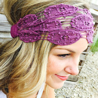 NATURAL LIFE PURPLE CROCHET HEADBAND