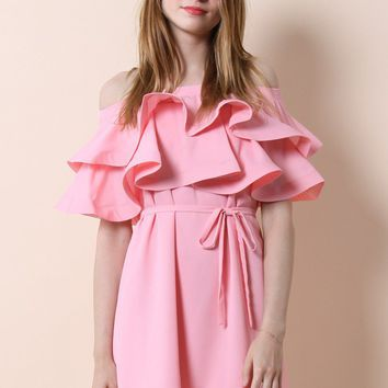 Darling Ruffled Off-shoulder Dress in Candy Pink