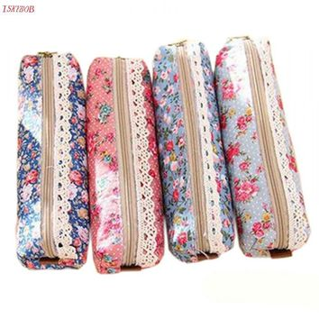 Vintage Flower Floral Lace Pencil Pen Case Cosmetic Makeup Bag Pouch Holder Women Cosmetic Bags Fresh purse Free Shipping