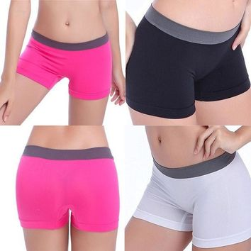 PEAPIX3 New Summer Women Sports Gym Workout Waistband Skinny Yoga Shorts One Size = 1933212932
