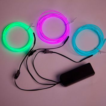 3-Lines 5ft each El Wire Kit w/ Sound Responsive Battery Pack - Default