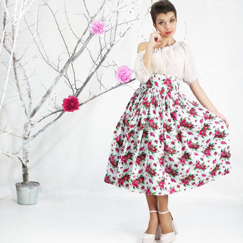 Midi Skirt - Tea Length Skirt, High Waist Full Skirt, 50's skirt, Floral skirt, Bridesmaid Skirt, Plus Size Skirt, Plus Size 50's Dress
