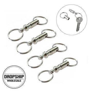 4PCS/LOT Double-head Detachable Key Ring EDC Outdoor Equipment Quick Release Keychain Key Holder Organizer Camping Carabiners