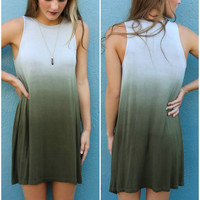 Ocean Fog Olive Ombre Sleeveless Jersey Swing Dress