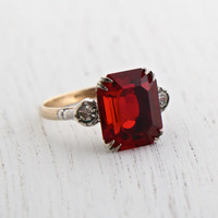 Vintage Rolled Gold & Sterling Ring - Ruby Red Glass Stone, Clear Rhinestone 1940s Size 8 Jewelry / Emerald Cut with Two Tones