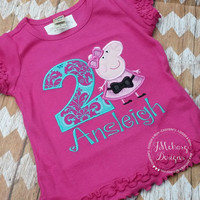 Party Dress Peppa Pig Birthday Custom Tee Shirt - Customizable -  Infant to Youth