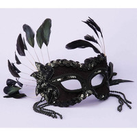 Karneval 1-2 Mask - Feathers & Beads Black