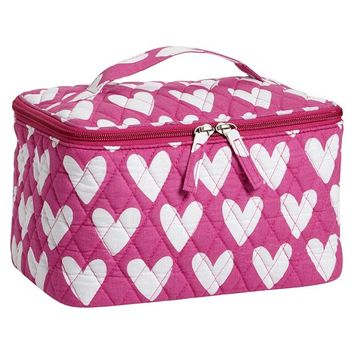 Quilted Sleepover Beauty Travel Case, Hearts
