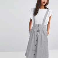 Mango Stripe Pinafore Dress at asos.com