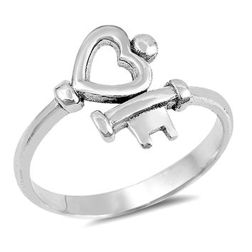 Heart Key Love Promise Ring New .925 Sterling Silver High Polish Band Sizes 4-10