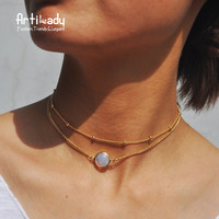 Artilady natural crystal 2 layer choker necklace gold color opal stone pendant necklace for women jewelry