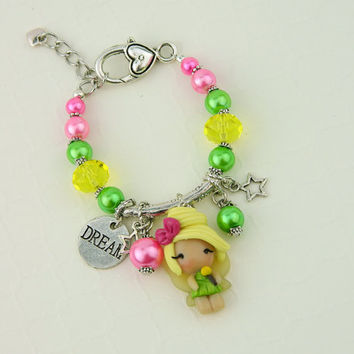 Tinkerbell bracelet, Tinkerbell jewelry, Peter Pan jewelry, Tinkerbell charm, Tinkerbell chibi
