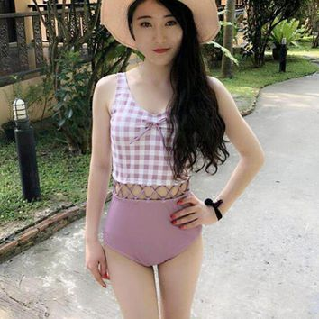 Summer Sexy Hollow Out One Piece Swimsuit Quick Dry Breathable Women's Plaid Beach Bathing Suit Padded Cute Slim Swimwear